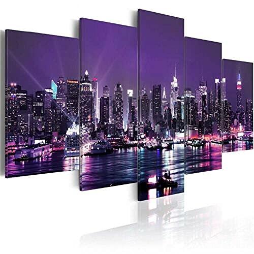 Composición de 5 Cuadros de Madera para Pared Luces púrpuras de la Ciudad de Nueva York Impresión Artística Imagen Gráfica Decoracion De Pared Abstracto 150 * 80cm con Marco