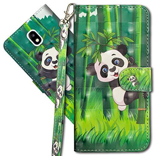 MRSTER Funda para Samsung Galaxy J3 2017, 3D Brillos Carcasa Libro Flip Case Antigolpes Cartera PU Cuero Funda con Soporte para Samsung Galaxy J3 2017 J330. YX 3D Panda Bamboo