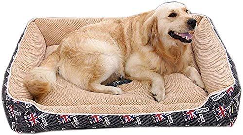Hondenbed, rechthoekig, warm en waterdicht huisdierbed, gezellig bed voor een comfortabel bed voor een hond, wasbaar hondenbed van Oxford-stof met afneembaar deksel, hondenbed (kleur: zwart, maat: M (80 x 60 cm), S(60x45cm), Zwart