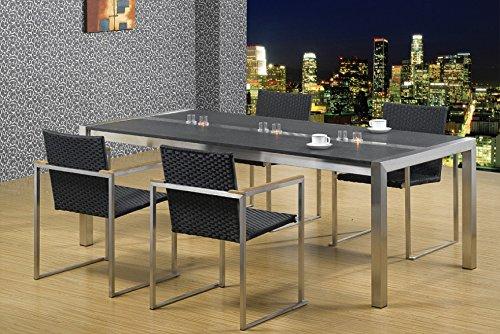 Esszimmertisch Edelstahl mit Granitplatte LxB: 200x100 cm, (Marke: Szagato) ((Edelstahltisch, Wohnzimmertisch, Esstisch, Gartentisch, Designertisch)