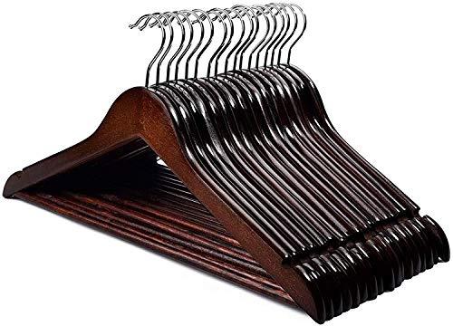 HOUSE DAY Grucce Appendiabiti in Legno Premium, 20 Pezzi, con tacche e Barra girevoli a 360°, per Pantaloni, Vestiti, Giacca, -44,5 cm Colore Rosso Marrone