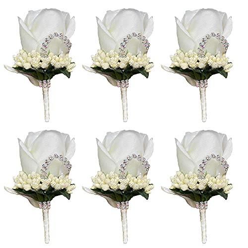 Hochzeit Boutonniere, MOPOIN 6 Stück Künstliche Rose Hochzeitsblumen Bräutigam Groomsmen Ansteckblume mit Anstecknadel Seidenband für Party Prom Männer Anzug Dekoration, Weiß