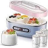 HUIXINLIANG Fabricante de yogurt - Máquina automática del fabricante de yogurt digital con temperatura establecida - 7 jarras de vidrio 42 ozs, pantalla LCD y diseño de control de temperatura constant