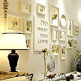 Wsyl estilo europeo vintage conjunto de marcos de fotos de pared grande 15 cuadros cubiertas 180cm x 77cm simple madera sólida marco foto muro blanco restaurante creativ decoración