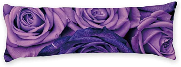 AILOVYO Purple Rose Sexy Floral Long Body Pillow Case Cover Silky Shiny Satin Body Pillow Cover Custom Material 20