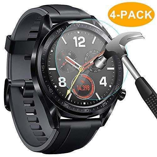 CAVN Panzerglas Kompatibel mit Huawei Watch GT Sport/Classic/Active Schutzfolie [4-Stück], (Nicht für GT 2) Wasserdichtes gehärtetes Glas Anti-Scratch Anti-Bubble Bildschirmschutzfolie Schutz für GT