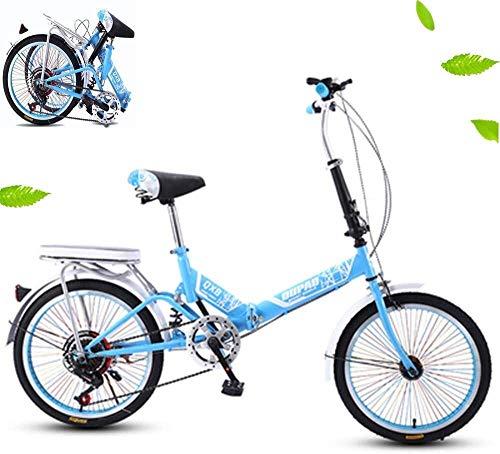 Folding Speed Bike 20in 6-Gang-Fahrrad Fully MTB Fahrrad Frauen Erwachsene Männer Rennen Off-Road mit Variabler Geschwindigkeit integrierten Rad-Stoßdämpfer Student Fahrrad Fahrrad
