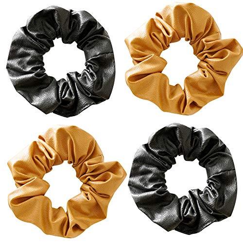 Paquete de 4 coleteros de piel sintética para coleta de pelo brillante y esponjoso para el pelo, para la escuela de rendimiento de las niñas