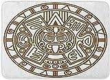 Gjid Alfombras de baño Alfombras de baño Alfombrilla de Interior para Exteriores del Antiguo Calendario Maya Símbolo Piedra Maya Sol Antigüedades Decoración de baño Alfombra Alfombra de baño
