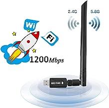 Lanero WLAN Stick 1200Mbit/s con 5dBi Antenna Dualband (5G/867Mbps + 2.4G/300Mbps) USB 3.0 WiFi Stick Wireless Standards pequeño WiFi Receptor WiFi Adaptador para Escritorio/PC/portátil/portátil