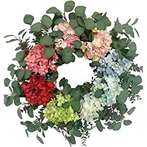Huashen Spring Colorful Hydrangea Blossom Summer Wreath with Green Leaves, Everyday Silk Flower Large Wreath on Grapevine 26inch