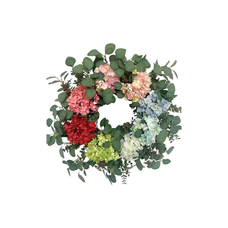 silk flower arrangements huashen spring colorful hydrangea blossom summer wreath with green leaves, everyday silk flower large wreath on grapevine 26inch