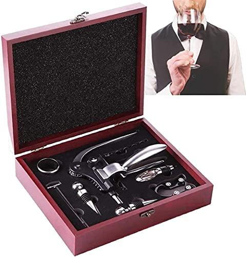 Juego de 9 sacacorchos de vino de acero inoxidable con caja de madera roja, juego de regalo para botellas de vino de Navidad, regalos otros regalos