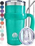 ALBOR Triple Insulated Stainless Steel Tumbler 20 oz Glitter Emerald Coffee Travel Mug With Handle