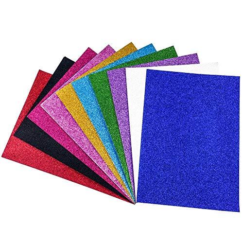 FOGAWA 10 Blatt Glitzer Papier Selbstklebende Dekofolie Glänzend Bastelpapier Glitterkarton zum Basteln Glitter Tonpapier für Grußkarten Tischkärtchen Scrapbooking DIY Handwerk Kalendern