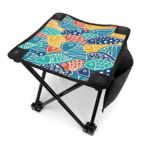 Taburete de camping plegable colorido patrón de peces carpa portátil silla camping caza pesca viaje con bolsa de transporte