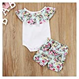 Newborn Infantil Baby Girl Romper Tops Floral Shorts 2 unids Set Traje Ropa 0-24m Summer Infant Ropa Bebe Girls Set (Color : As Photo Shows, Size : 6M)
