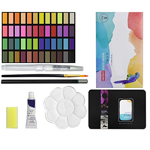 Solid Watercolor Paint Set,48 Colors Art Supplices with Water Brush Pen,Professional Watercolor Paint for Artist