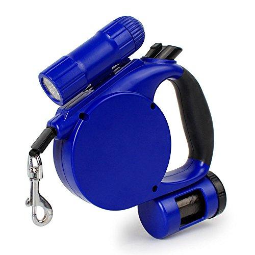 Winnes Ausziehbare Hundeleine mit LED-Licht, 4,5 m, für mittelgroße und große Hunde, Blau