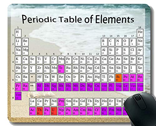 Periodensystem der Element-Chemie-Diagramm für Klassenzimmer Mauspads Rutschfest, Strand-Shell-themenorientierte Mausunterlagen der wild lebenden Tiere mit genähtem Rand