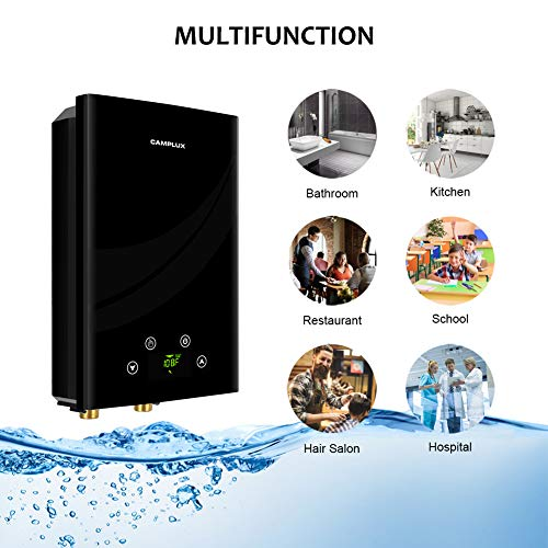 Camplux Electric Tankless Water Heater, TE11 On Demand Residential Water Heater, Instant Electric Water Heater with Digital Display and Remote Control, 11kW at 240V, Black