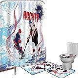 Set di tende per doccia Accessori il bagno tappeti Hockey Tappetino da bagno con tappetino per WC Due giocatori di hockey su ghiaccio in stile cartoon su grunge astratto pattinaggio su pista,multicolo