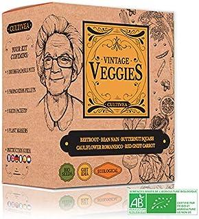 Cultivea Mini - Vintage Veggies Mini Growing Kit - 100% Organic Seeds - Grow, Decorate and Taste - Gift Idea (Yellow Beet, Dwarf Bean, Romanesco natalino Cauliflower, Red Carrot, Butternut Squash)