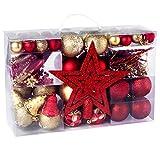 100 teilig Weihnachtskugel Set Christbaumkugeln in Rot und Gold, Hängende Plastikverzierung Weihnachtskugeln für Weihnachtsbaum, mit Stern, Kette, Glocke, Ahle