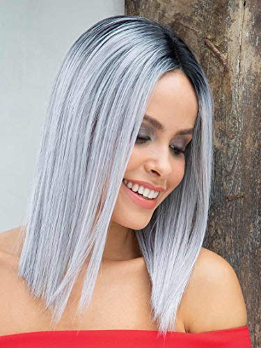 Flawless Wig Color Silver Mist - Noriko Wigs 11' Length Straigh Bob Heat Friendly Synthetic Lace Front Monofilament Part Sleek Cut Orchid Collection Bundle MaxWigs Hairloss Booklet