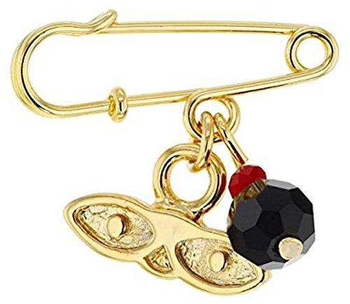 14kt Gold Plated Eyes Saint Lucky Charm Azabache Protection Baby Pin Brooch - Ojitos De Santa Lucia Azabache para Proteccion