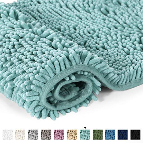 "H.VERSAILTEX Bathroom Rug Shag Shower Mat Machine-Washable Plush Bath Mats with Water Absorbent Soft Microfibers, 20"" W x 32"" L, Duck Egg Shell Blue"