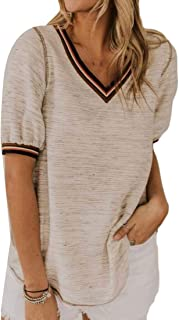 MK988 Womens Plus Size Short-Sleeve V-neck Loose Casual Blouse Top T-Shirt