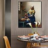 Geiqianjiumai La Obra Maestra del Artista holandés La sirvienta vertiendo Leche Carteles e Impresiones lienzos de Arte de Pared en la Sala de Estar decoración Pintura Pintura sin Marco 50X70cm