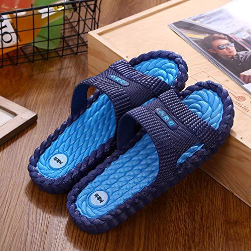 RSVT Zapatillas de baño para el hogar,Deslizadores Antideslizantes Resistentes al Desgaste de los Pares, Sandalias Interiores del Masaje casero-Hombre-Azul Oscuro_44-45 Yardas,Chanclas Punta Abierto