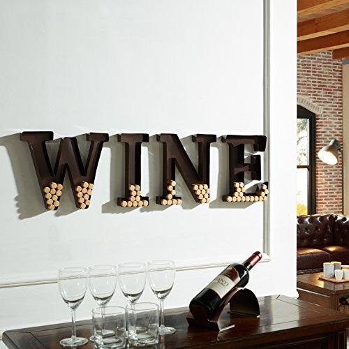 Danya B. HG10196 - Barra decorativa para pared, diseño de letras de vino, corcho, color plateado