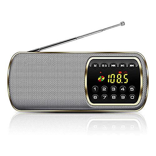 Zks Radio, Radio Portable avec Lecteur LED Lumière Carte Lecteur USB De Charge Musique Support 3,5 Mm Prise Casque pour Marche Randonnée Camping Walkman Pocket,d'or