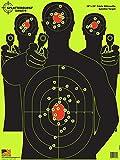 Splatterburst Targets - 18 x 24 inch - Triple Silhouette Reactive Shooting Target - Shots Burst Bright Fluorescent Yellow Upon Impact - Gun - Rifle - Pistol - Airsoft - BB Gun - Air Rifle (50 Pack)