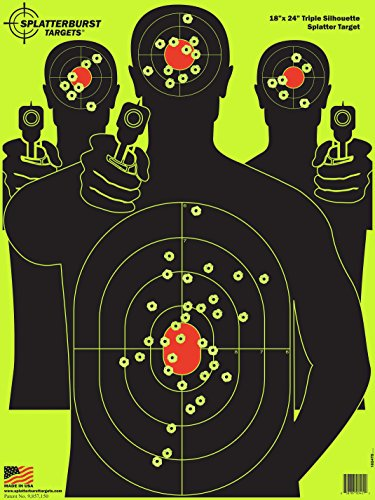 Splatterburst Targets - 18 x 24 inch - Triple Silhouette Reactive Shooting Target - Shots Burst Bright Fluorescent Yellow Upon Impact - Gun - Rifle - Pistol - Airsoft - BB Gun - Air Rifle (25 Pack)