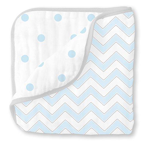 SwaddleDesigns Cotton Muslin Swaddle Blankets, Set of 4, Pastel Blue Nautical...