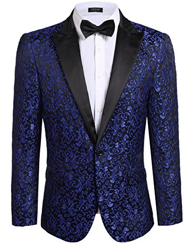 JINIDU Men's Floral Party Dress Suit Stylish Dinner Jacket Wedding Blazer Prom Tuxedo, XXL, Blue