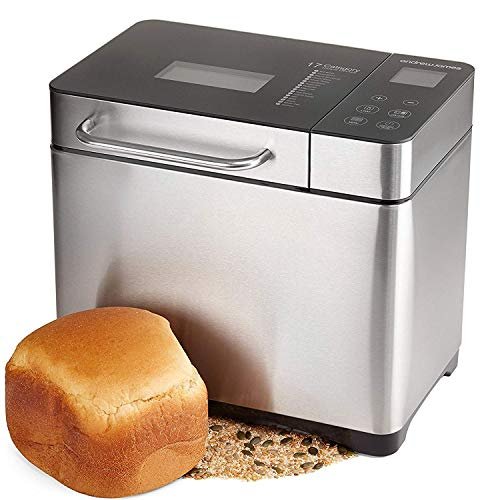 KBS Bread Machine, 19 Automatic Programs, Programmable Breadmaker Machine with 3 Crust Color, 15 Hours Delay Time and LCD Display-Stainless, 2LB