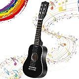 GOPLUS 1/2 Größe Kindergitarre, Konzertgitarre aus Holz, Anfängergitarre mit 6 Nylonsaiten, Akustikgitarre mit Plektrum, aus Holz, für Kinder ab 3 Jahren, für Anfänger zum Lernen (Schwarz)