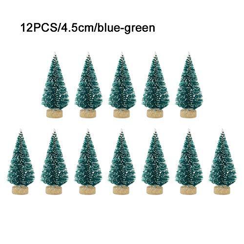 ranninao 12 Stück Weihnachtsbaum Künstlich Klein Deko Künstlicher Weihnachtsbaum Naturgetreuer Christbaum Für Tischdeko, DIY, Schaufenster (3,5 X 4,5 X 6,5 cm) - Mehrere Farben Erhältlich