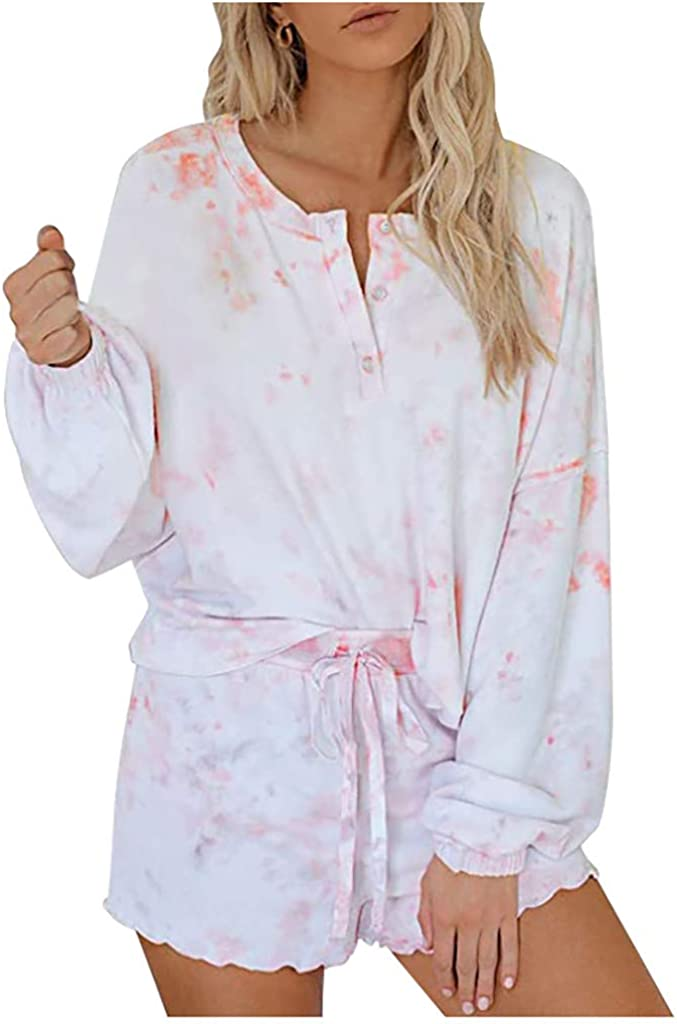 Pajama Set for Women,Womens Tie Dye Printed Ruffle Short Pajamas Set Tops and Shorts PJ Set Loungewear Nightwear