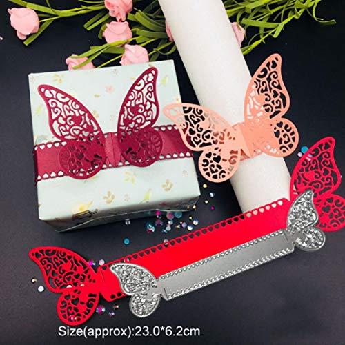 P12cheng Troqueles de corte de metal, anillo de servilleta mariposa troquelado plantilla DIY Scrapbooking Craft en relieve boda invitación Pascua tarjeta decoración