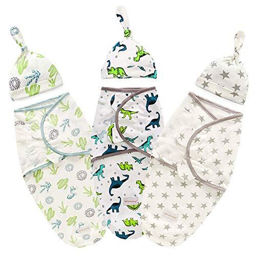 Manta Para Recién Nacido,3 Juego,Recién Nacido Mantas Envolventes Para Dormir,Saco Dormir Manta,3-6 Meses,Suave Cómodo y Transpirable