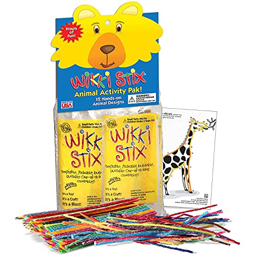 Arts and Crafts for Kids Animal Activity Book 12 Pack, 8 Per Pack, Non-Toxic, Waxed Yarn, Fidget Toy, Reusable Molding and Sculpting Playset, American Made by Wikki Stix