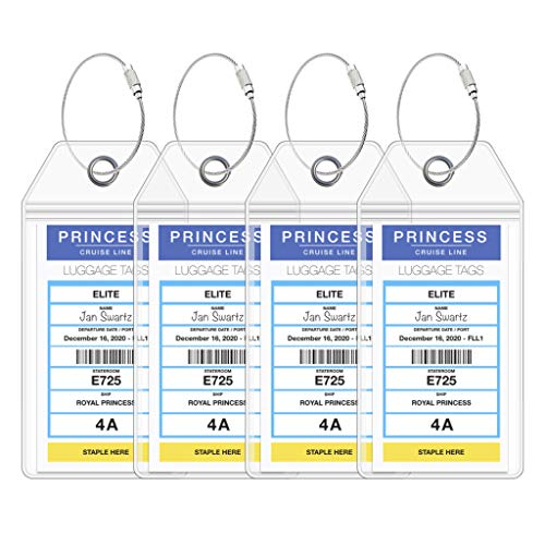 Princess Cruise Ship Luggage Tag Holders by Cruise On - Fits All Princess Ships & Tags for Cruises in 2020 & 2021