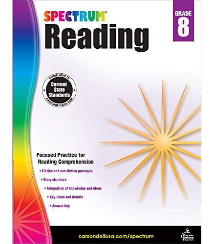 Spectrum 8th Grade Reading Workbook—State Standards Reading Comprehension, Nonfiction Fiction Pass