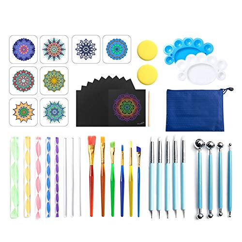 47 Piezas Kits de Herramientas de Pintura de Mandalas de Punto Conjunto de Plantillas,Mandala Dotting Herramientas Kits